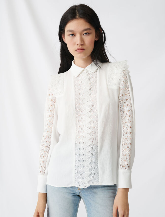 Shirt with lace - Tops & T-Shirts - MAJE