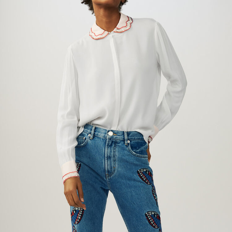 Shirt with embroidered collar : Tops & Shirts color Ecru