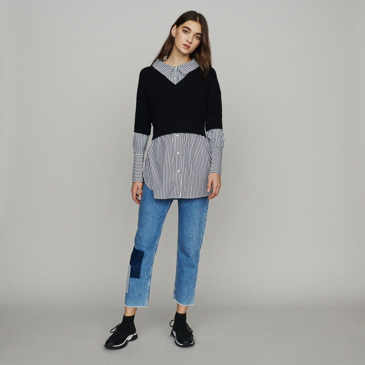 Layered effect cropped sweater : Sweaters color Black 210