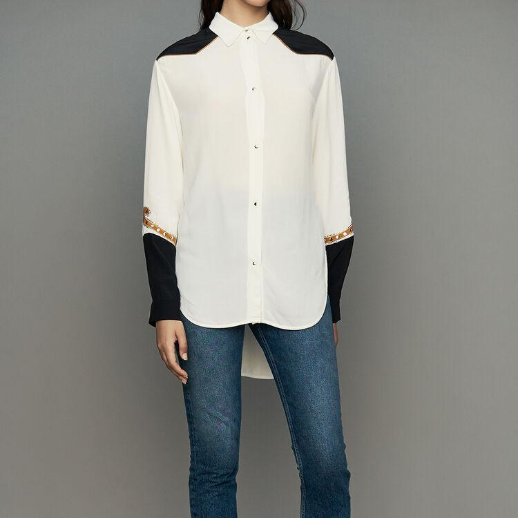 Long western blouse : Modern Western color ECRU