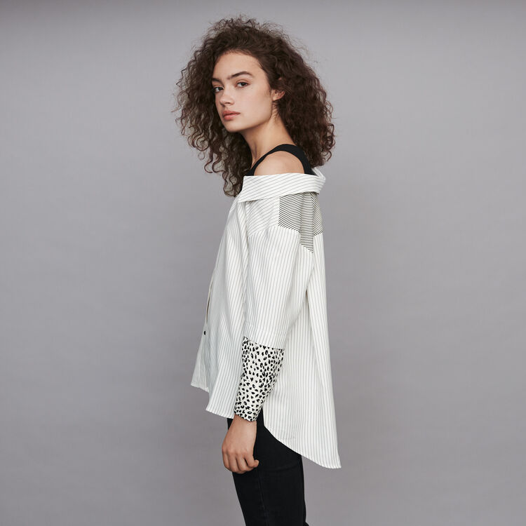 Striped layered top : Fall Pre-Collection color White / Black