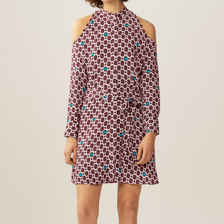 Printed cold-shoulder dress : Dresses color PRINTED