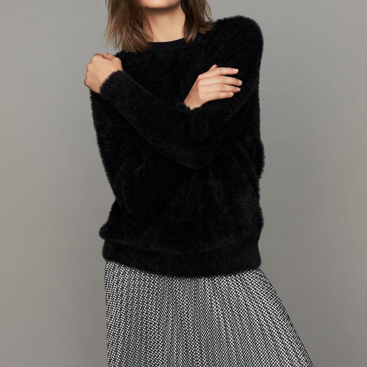 Faux-fur sweater : Sweaters color Black 210