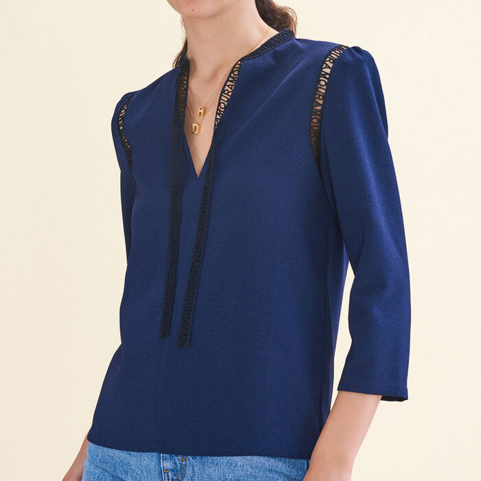 Blouse with braid trim : Tops & Shirts color Night