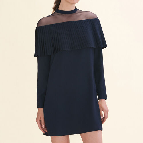 Dress with crepe pleated frill : Dresses color Navy