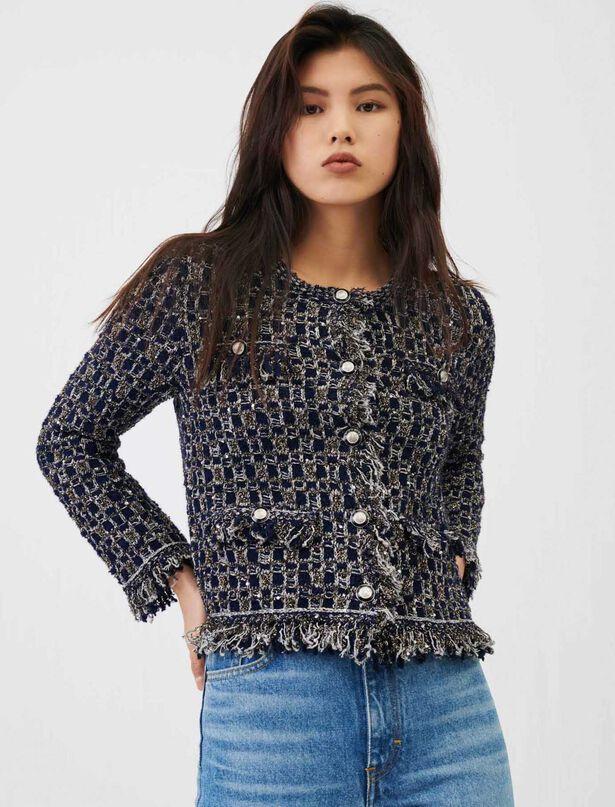 마쥬 MAJE Fancy lurex knit cardigan,Navy