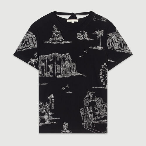 T-shirt with Paris embroidery : Tops & T-Shirts color BLACK