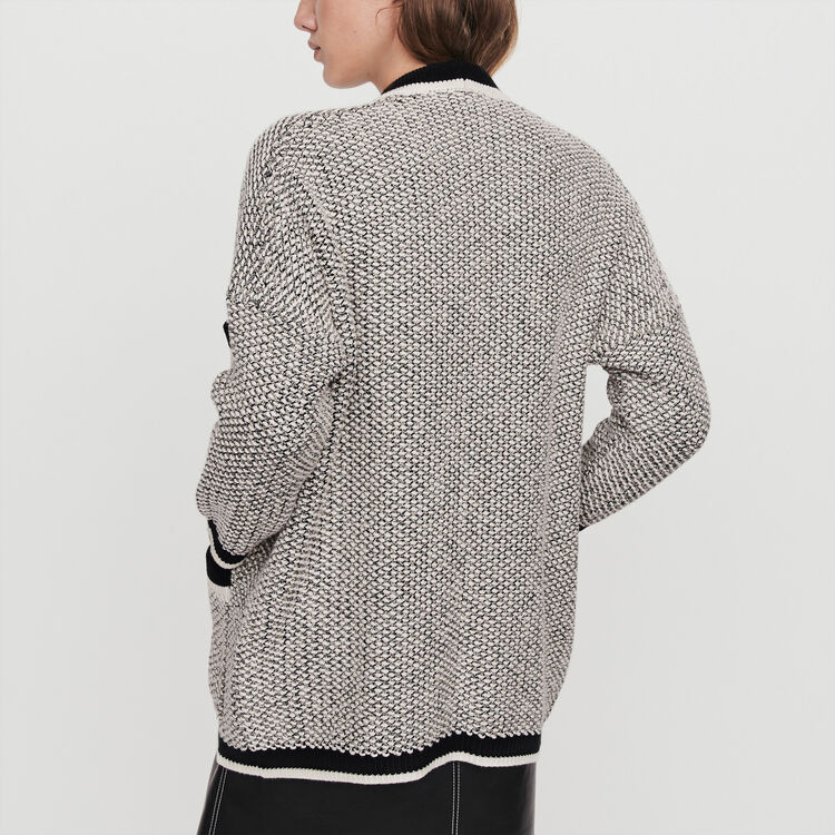 Cardigan with contrast stripes : Sweaters color Black