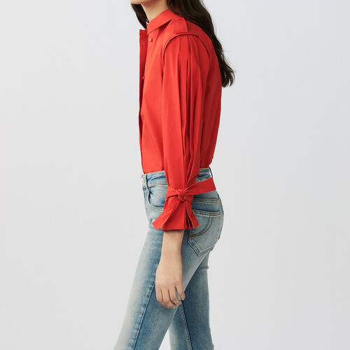 Tied-cuff cotton shirt : Tops & T-Shirts color Red
