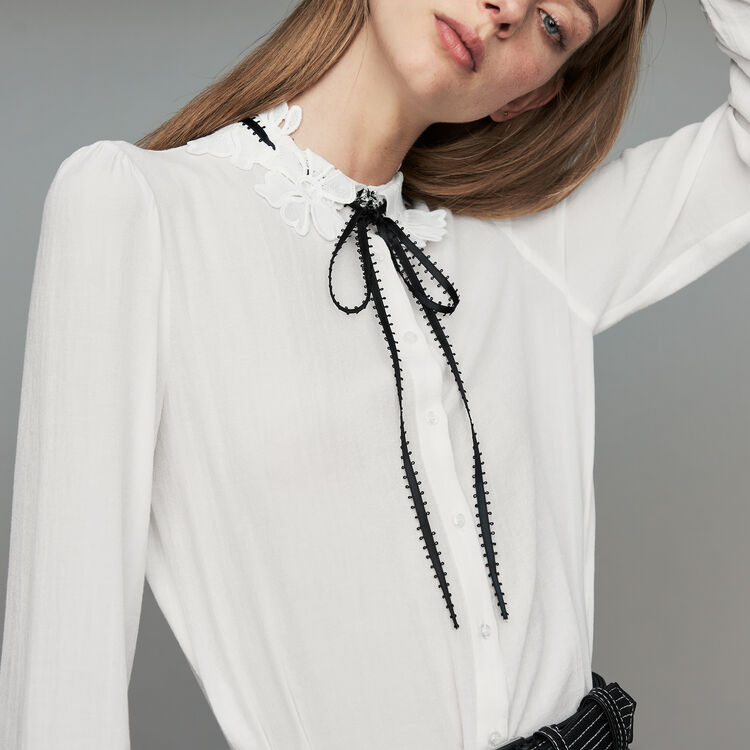 Blouse with guipure detailing : Tops & T-Shirts color White