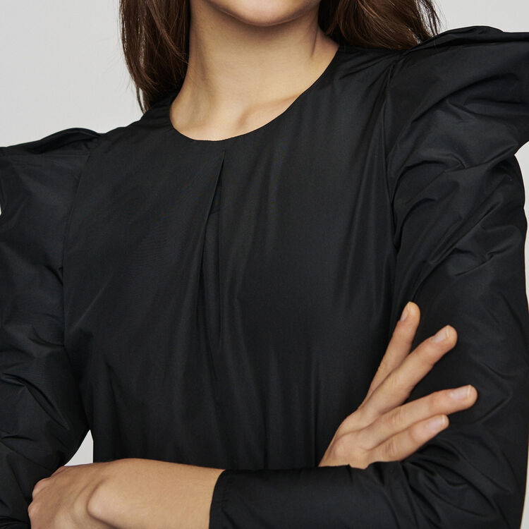 Taffeta top with shoulder detailing : Tops & T-Shirts color Black 210
