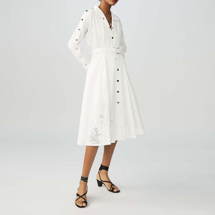 Long shirt dress with broderie anglaise : Dresses color White