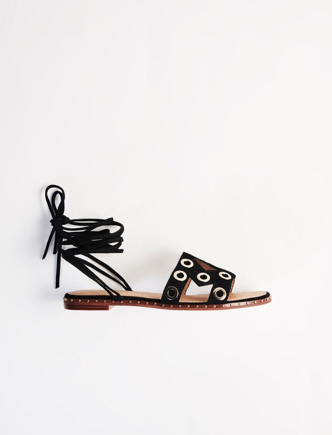 Suede tie sandals with eyelets - Shoes - MAJE
