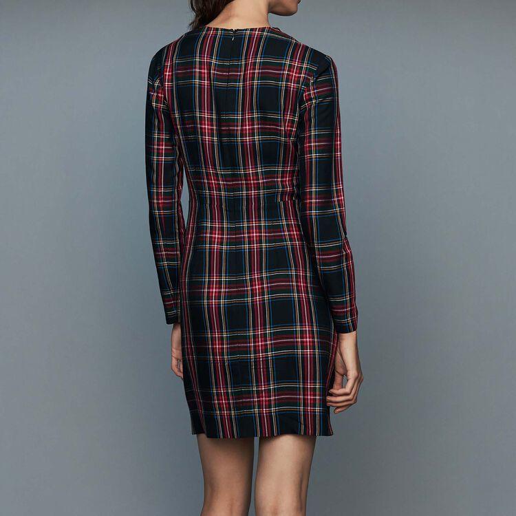 Draped plaid dress : Dresses color CARREAUX