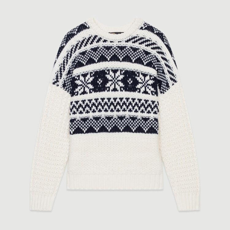 Jacquard knit sweater : Sweaters color Ecru
