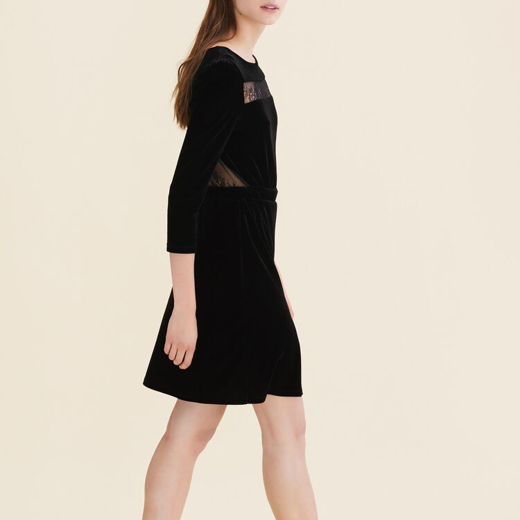 Velvet and lace dress : null color