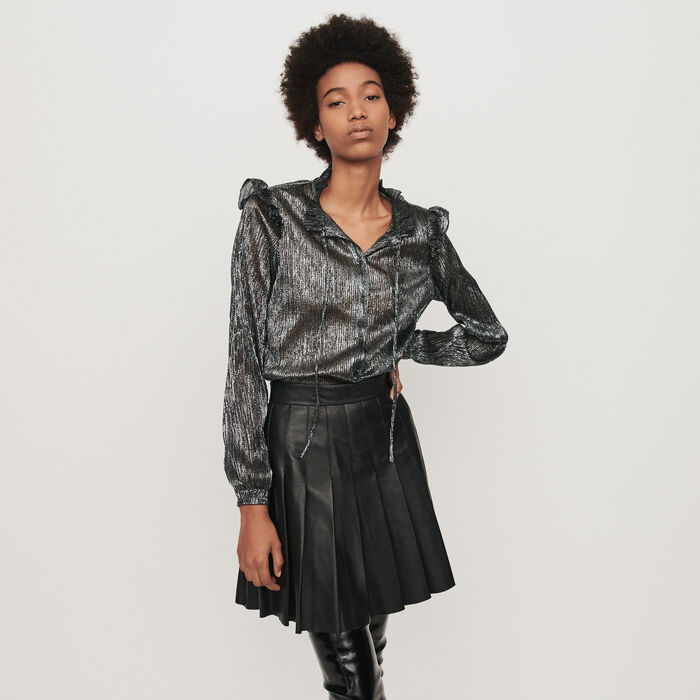 Lurex ruffled shirt : Tops & T-Shirts color Silver
