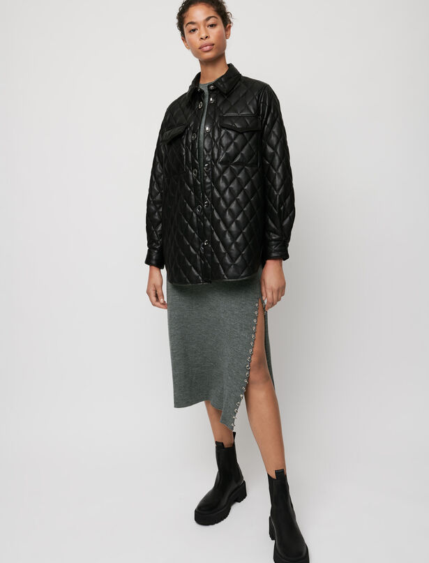 마쥬 MAJE Leather-look quilted overshirt,Black