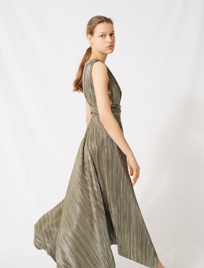 Long metallic dress with openwork sides - Dresses - MAJE