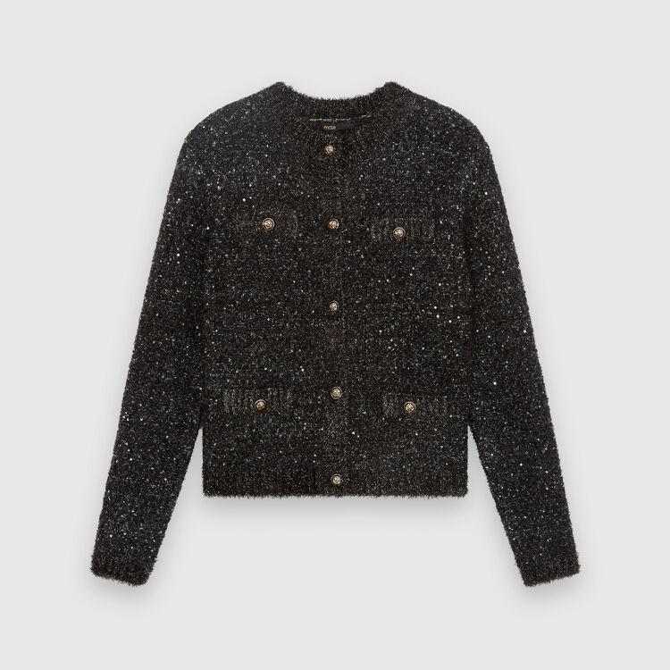Fancy Lurex knit cardigan : Sweaters color Blue