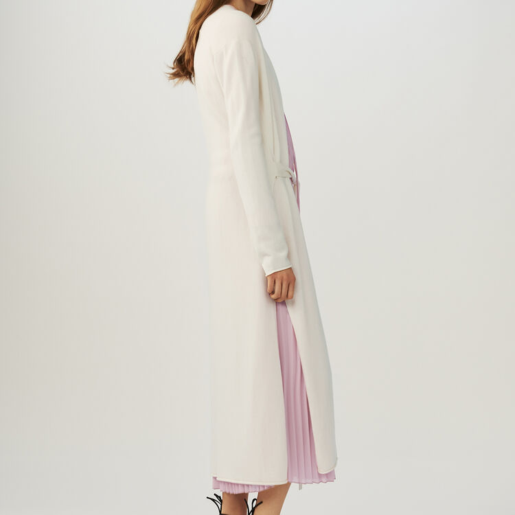 Belted long cardigan : Sweaters color ECRU
