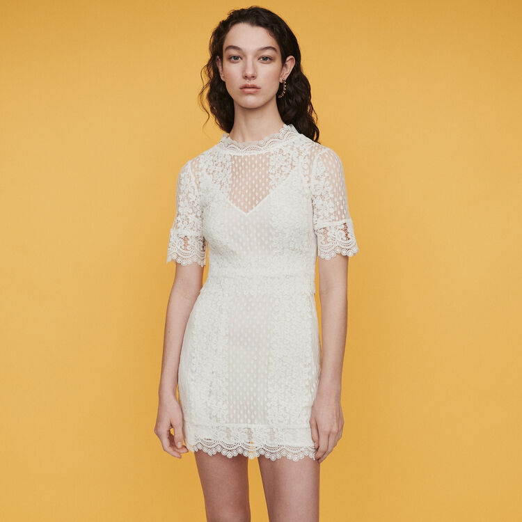 70f334aa Dresses true Short Swiss dot dress with daisy lace : Dresses color White