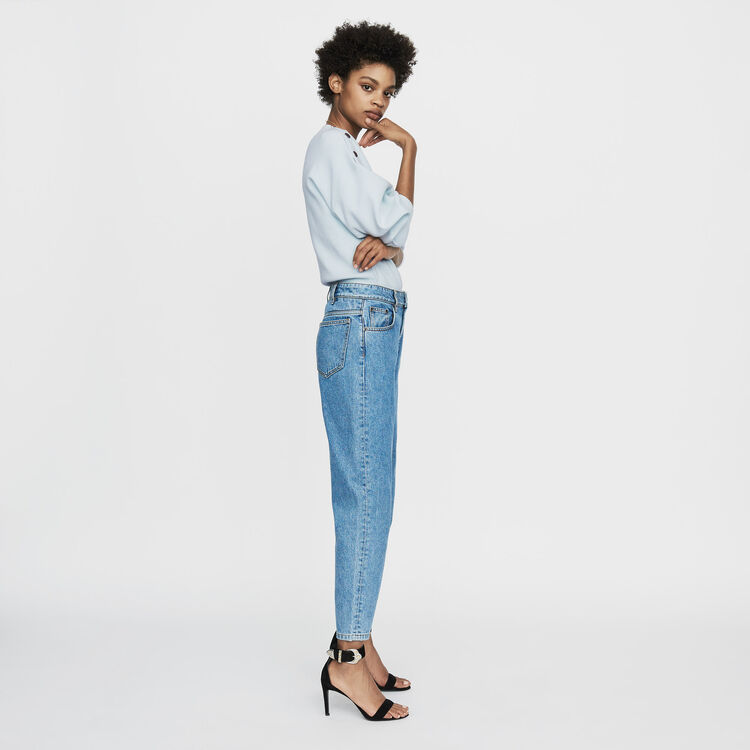 Wide jeans in distressed denim : Pants & Jeans color Denim