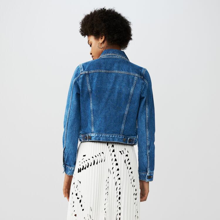 Cropped denim jacket : Coats & Jackets color Blue