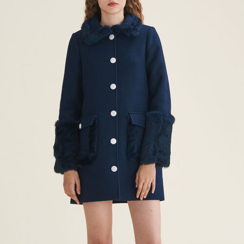 Straight-cut wool blend coat with rabbit - Coats & Jackets - MAJE