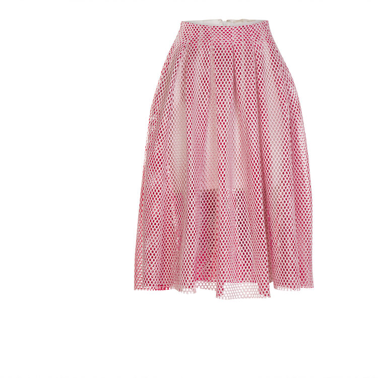 Mid-length openwork knit skirt : null color
