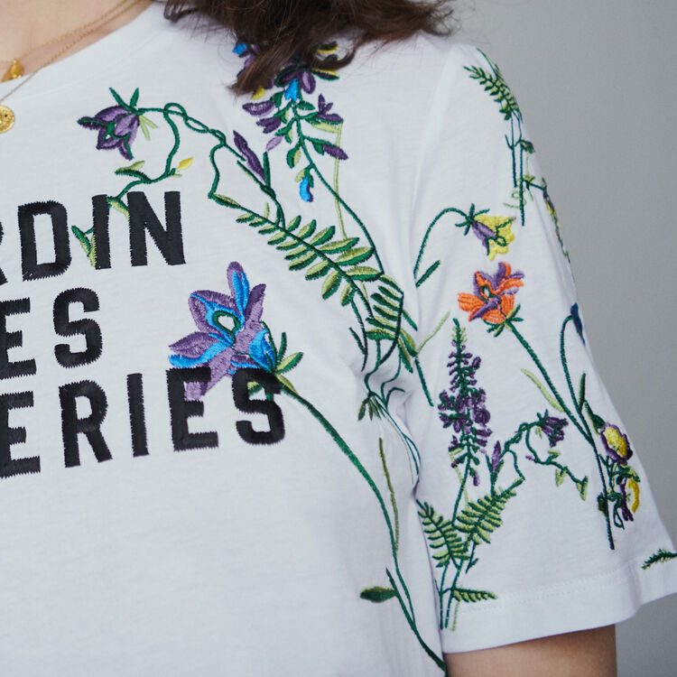 Embroidered T-shirt : Tops & T-Shirts color White