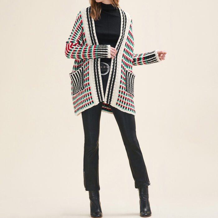 Long multi-coloured knit cardigan : Sweaters color Multico