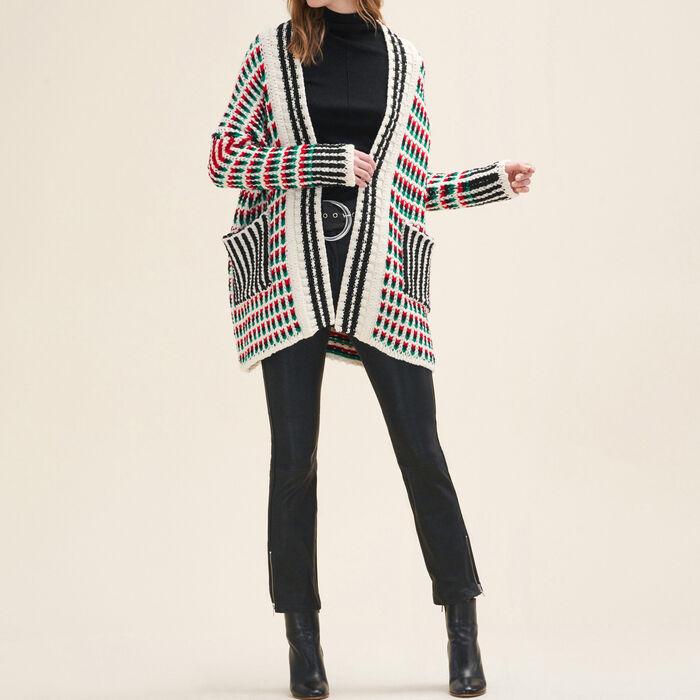 MARCELLO Long multi-coloured knit cardigan - Sweaters - Maje.com