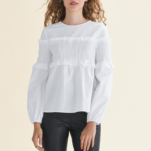 Cotton top with smocking - Tops & T-Shirts - MAJE