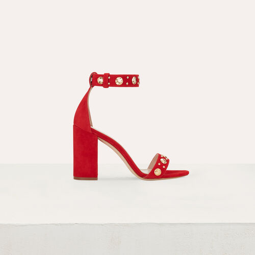 Suede heeled sandals : Shoes color Red