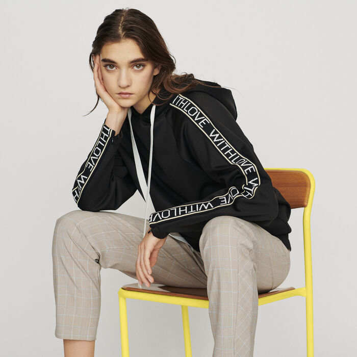 Hooded sweat-shirt with slogan band : Sweaters color Black 210