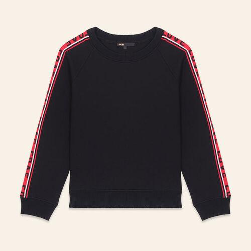 Neoprene sweatshirt with bands : Sweaters color Black 210