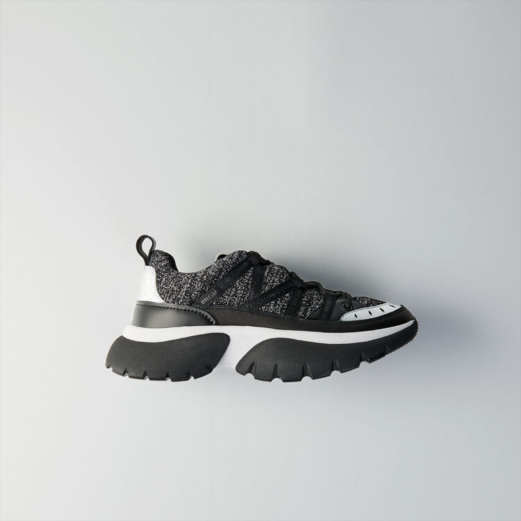 W20 leather and lurex sneakers : Shoes color Black Lurex Silver