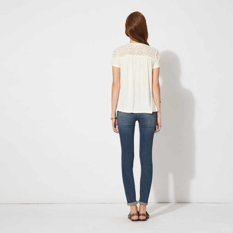 Stretch cotton slim jeans : null color