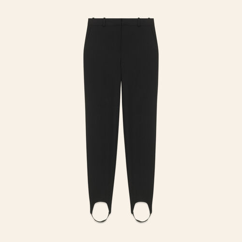 Straight-cut crepe stirrup trousers : Pants & Jeans color Black 210