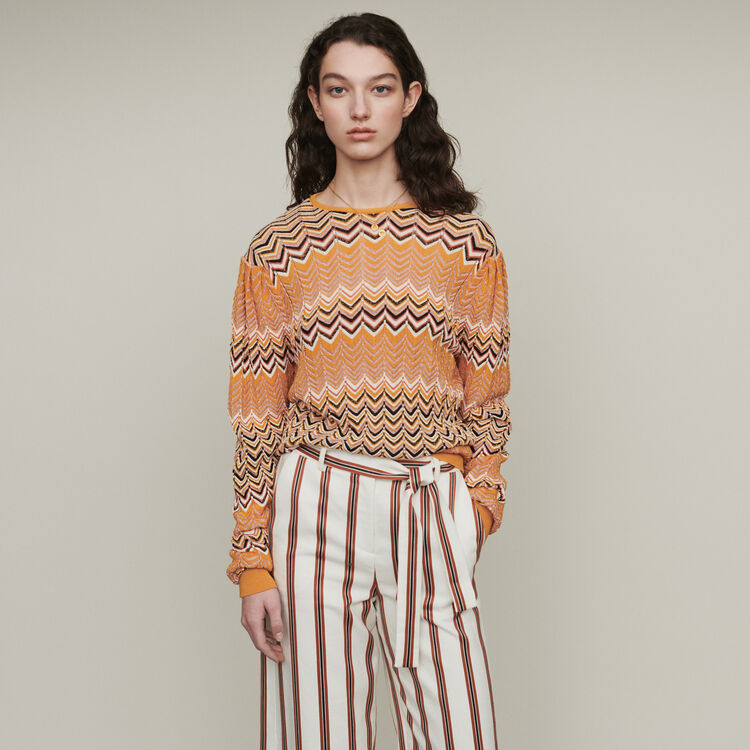Sweater in zigzag knit : Sweaters color Orange