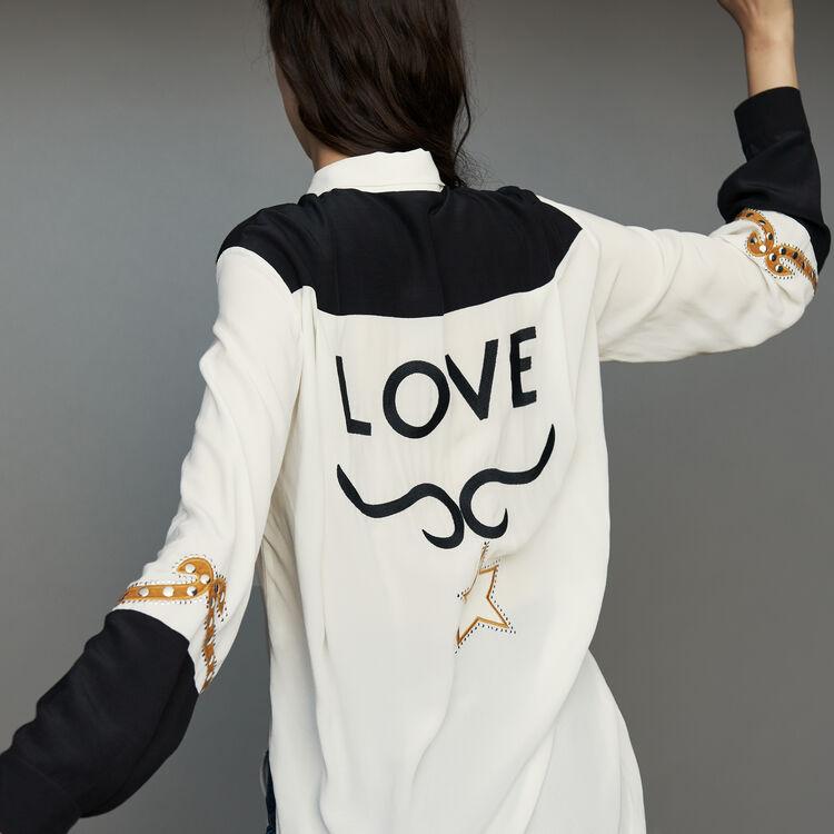 Long western blouse : Tops & T-Shirts color ECRU