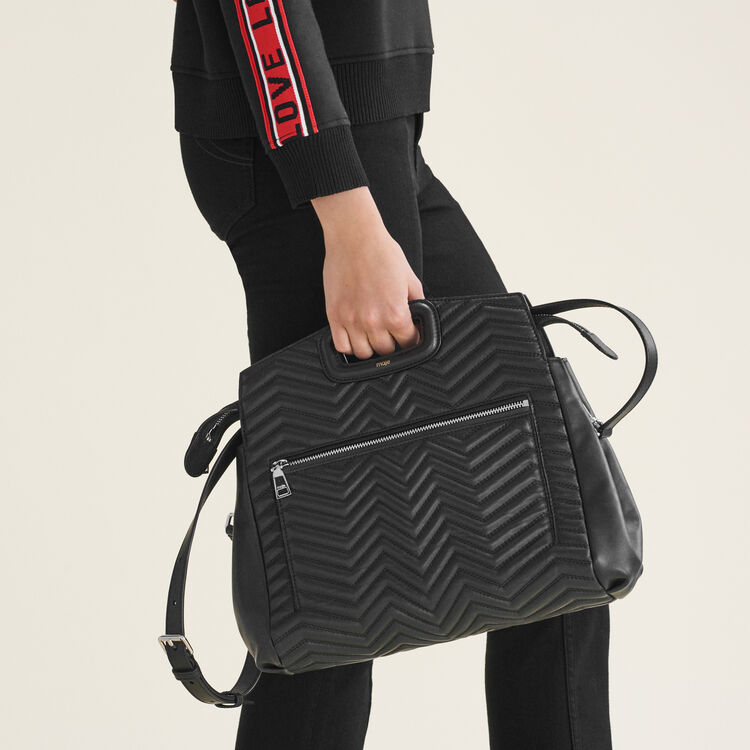 Quilted leather shoulder bag : All bags color Black 210