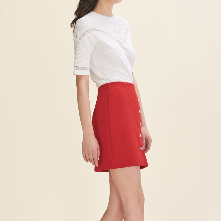 Short skirt with press studs : Skirts & Shorts color Red