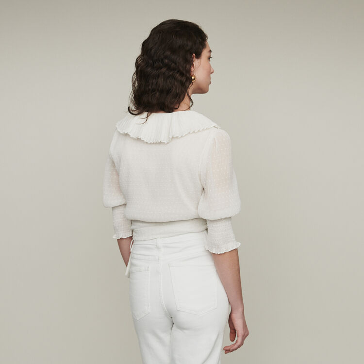Cropped ruffled top in Swiss dot : Tops & T-Shirts color WHITE