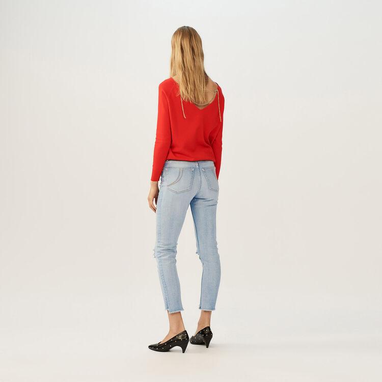 Cropped faded denim jeans : Pants & Jeans color Denim