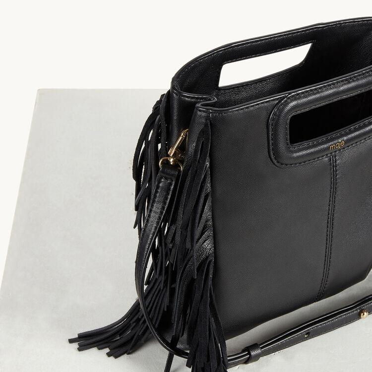 Leather bag with fringing : The M Bag color Black 210