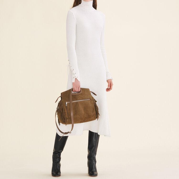 Long tube-knit dress : Dresses color Ecru