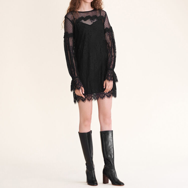 Short lace and dotted Swiss dress : null color