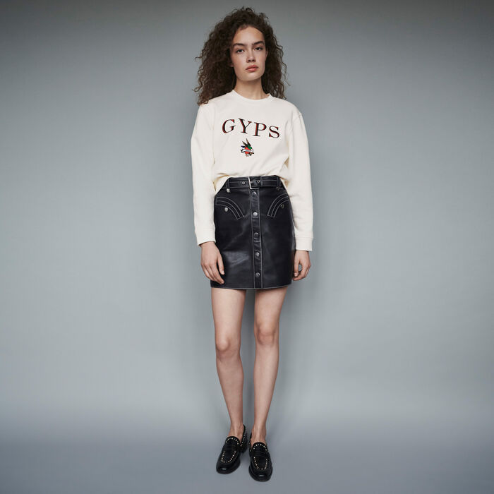 Embroidered sweatshirt : Sweaters color White